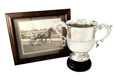 "Antique Sterling Silver 10"" Trophy Cup With Photo  - 1910 London Trotting Club"