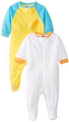 Gerber Unisex Baby 2 Pack Zip Front Sleep N Play, Ducks, 0-3 Months