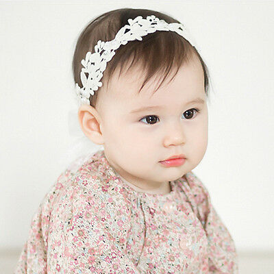 Baby Girls White Floral Hair band Adjustable Headband Lace Flower Headband TK