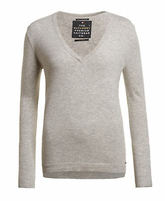 New Womens Superdry Luxe Vee Neck Knit Jumper Grey Marl