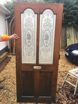 Edwardian Etched Glass Front Door Antique Wooden Reclaimed Period Old Hardwood