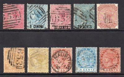Mauritius 10 Early Stamps Used (few faults)