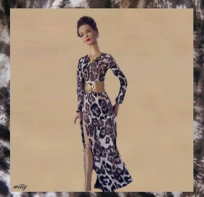 """Maxi  Dress In Trendy Animal Print & Leather Belt And Handmade Boots Ooak """"16"""