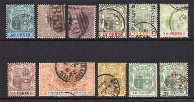 Mauritius 11 Early Stamps Used (few faults)
