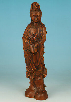 Chinese Boxwood Collection Handmade Carved Blessing Kwan-yin Guan Yin Statue