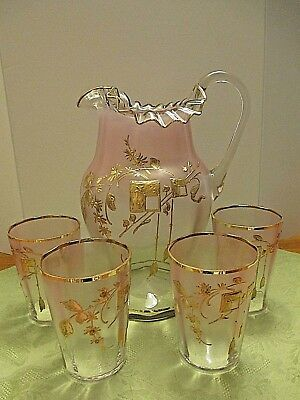 """Loetz Moser Era Gold Enameled Hand Painted Art Glass 10"""" Pitcher And 4 Tumblers"""