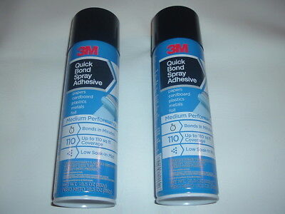 2 CANS OF 3M QUICK BOND SPRAY ADHESIVE PAPER CARDBOARD PLASTIC METAL FOIL 13.5oz