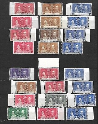 Commonwealth, 1937 KGVI Coronation eight complete sets, marginal MNH * (5945)
