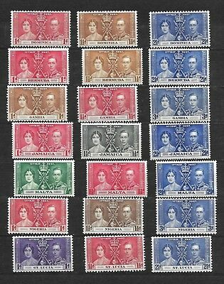 Commonwealth, 1937 KGVI Coronation 7 complete sets, mostly MNH  (5944)