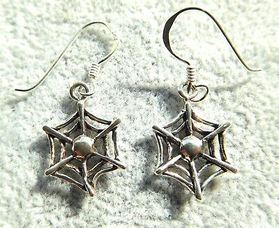 Solid Sterling Silver 925 10mm Dainty Cobweb Drop Dangle Earrings