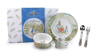 Golden Classic Peter Rabbit Plate Bowl Cup Flatware Baby 4 Pc Feeding Gift Set