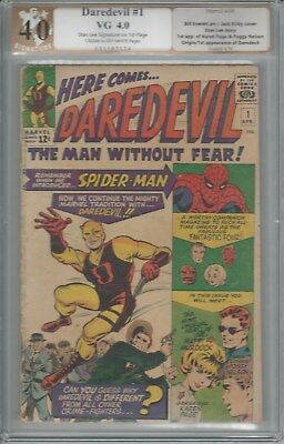 Daredevil #1  PGX 4.0  1964  Signed by Stan Lee