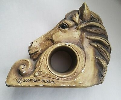 Telle M. Stein Signed 2001 Horse Head Drapery Bracket Towel Holder Curtain Rod