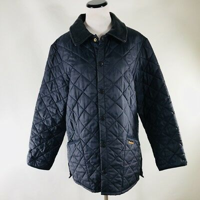 Barbour Liddesdale Men's Black Corduroy Collar Quilted Jacket Size XS UK Made