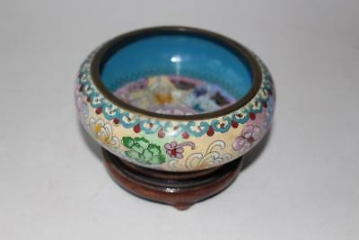 Chinese Cloisonne enamelled Bowl on wooden Stand