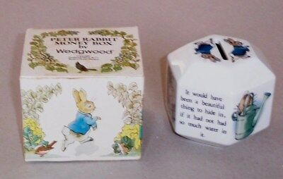 Vintage Boxed Wedgwood Peter Rabbit Money Box In Very Good Condition For Age