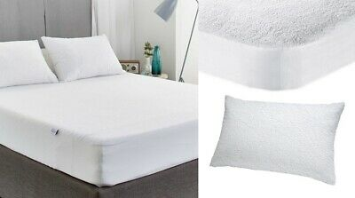 NEW TERRY TOWEL MATTRESS PROTECT Fitted Sheet Bed Cover ALL SIZES WATERPROOF