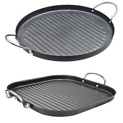 Round & Square 30Cm Non Stick Grill Pan Griddle Handle Aluminium Steak Frying