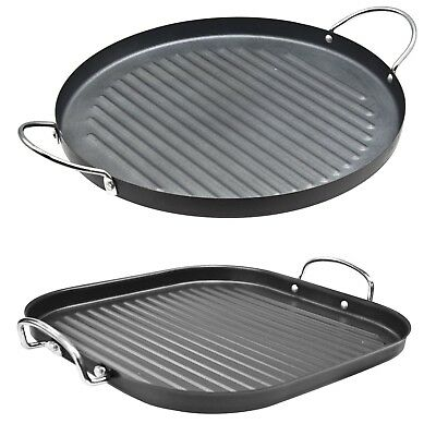 Round & Square 30cm Nonstick Grill Pan Bbq Griddle Handle Aluminium Steak Frying