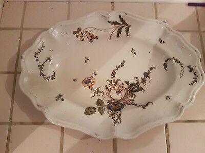 ANCIEN PLAT,FAIENCE DE BORDEAU,FAIENCE XVIIIeme,DECOR FLEUR,ASSIETTE