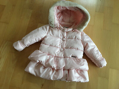 MAYORAL GIRL Baby Pink Padded Warm Coat Detachable Hood 12 MTHS HARDLY WORN