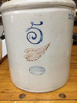 LARGE Antique 1915 RED WING 5 Gallon Stoneware CROCK w/ Handles
