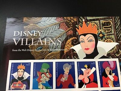 Walt Disney Villains Sheet of 20 Forever USPS First Class one O... Free Shipping