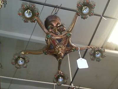 Antique Art Deco Light Fixture Chandelier Hand Painted