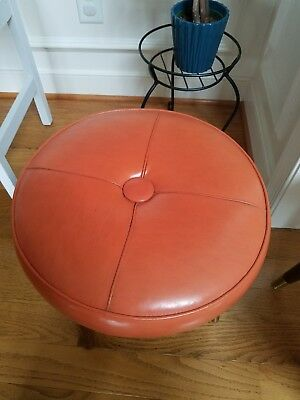 Vintage Orange Foot Stool Ottoman - Mid Century Modern Retro MCM