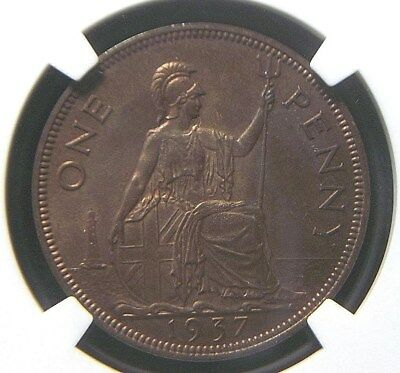 1937 UK Great Britain 1 Penny NGC MS64 RB   UNC / BU Luster   5008