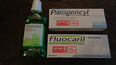 2 Dentifrices + 1 Bain De Bouche Fluocaril + 2 Dentifrices Parogencyl