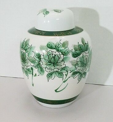 Lidded Ginger Jar/Urn Chinese Pottery White w/ Green Flowers Gold Trim