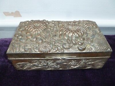 Antique Embossed Plated Metal Silk Lined Hinged Japanese? Jewellery Box