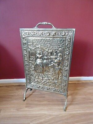 Antique Vintage Fire Screen Guard  Deeply embossed Brass  panel with Wood back