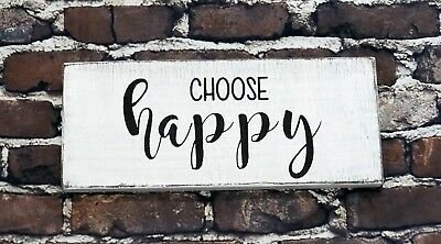 CHOOSE HAPPY - Rustic Wood Sign Distressed White Decor Farmhouse Style