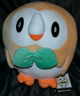 "13"" Rowlet Poke Plush Trainer Size Official Pokemon Center Dolls Toys SUN & MOON"