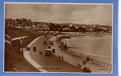 Old Vintage 1934 Rp Postcard Promenade Rhos On Sea Denbighshire
