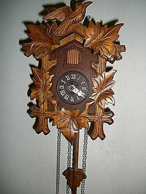 Vintage Black Forest Cuckoo Clock Working Large Bird Wood Carving.