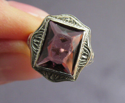 Antique Art Deco 14K White Gold Filigree Repousse Purple Emerald Rhinestone Ring