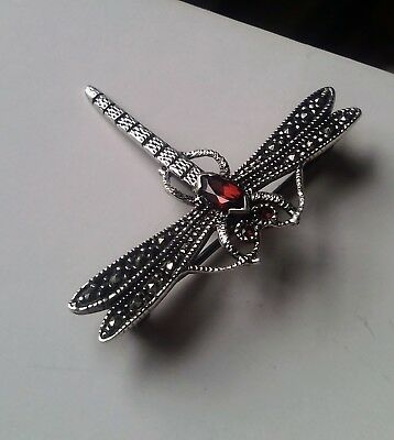 Beautiful art deco sterling silver marcasite and garnet, dragon fly brooch