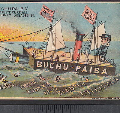 Buchu-Paiba Kidney Bladder Bottle Ship Impotence Cure Rat Advertising Trade Card