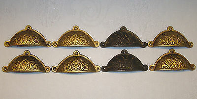 8 Antique Bin Pull Style Cast Metal Drawer Pulls - Never Used