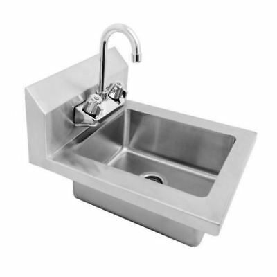 """New Wall Mount Hand Sink Stainless Steel W Faucet Space Saver  14"""" W X 16.5"""" D"""