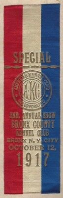 1917 2nd annual show bronx county kennel club special ribbon bronx ny oct 12