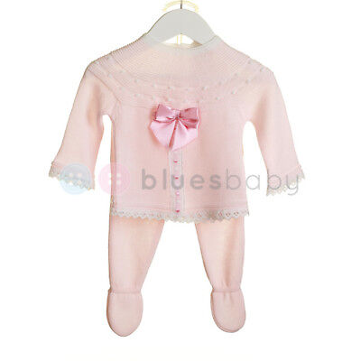 Zip Zap Spanish Style Romany Baby Girls Pink Knitted Bow & Lace Outfit SS'18