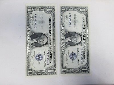 Two 1935-C Us $1 Silver Certificate Notes Consecutive