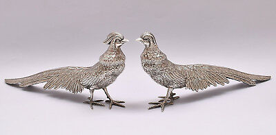 LARGE PAIR OF SOLID SILVER PHEASANTS. 33 cm / 13 inch.