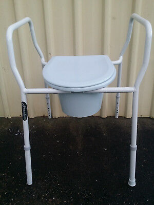 Commode Folding Over Toilet Seat Chair Frame Adjustable Height Powder Coated
