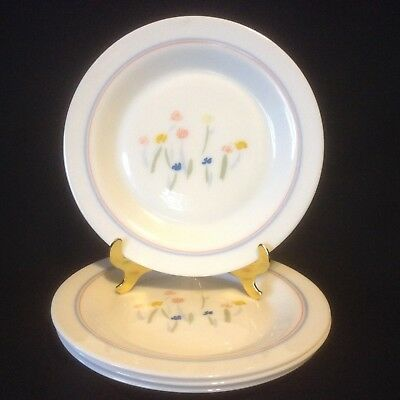 Arcopal PASTORAL 4 Rimmed Salad Plates Floral France Dainty Flowers Dinnerware