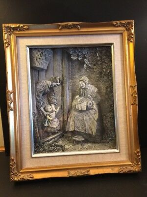 Vintage 3D Paper Picture Ornate Gold Frame Depicting Olde English Life Unusual